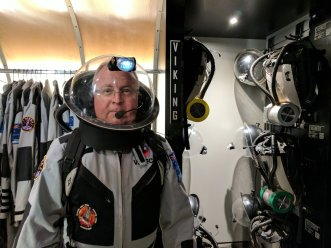 Gordon Cable, Chair of the ASAM Space Life Sciences Committee suiting up in preparation for our first exploration of the Mars surface.