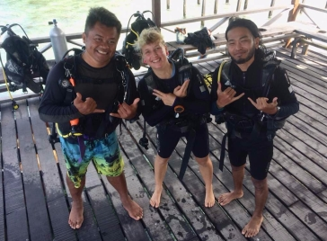 Dive instructor Along and my training buddy Ott